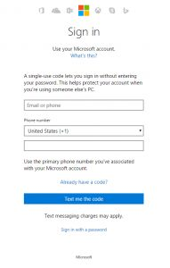 Hotmail Login Using Single Use Code
